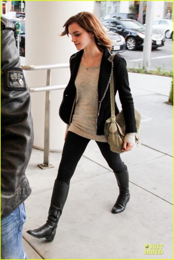 Emma Watson rocking a subtle biker chic look  spring?