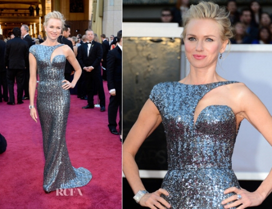 Seemed like Armani is to blame for the flood of metals for the choice fo gown during the Oscars 2013 red carpet. I wanna start my Oscars 2013 entry with my favorite--the look of Naomi Watts. The gown fitted like a second skin on her body, the color complemented her blonde hair, and the modern design  strengthened her new status as a fast-rising fashion icon on the red carpet. From what I noticed, metallic dresses are best complemented with diamond-studded metals for accessories.