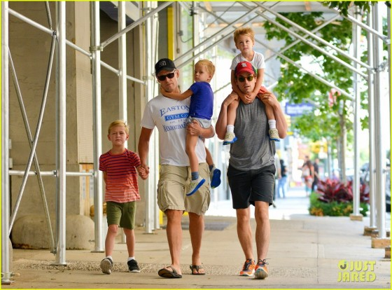 Matt Bomer walking with kids and partner from justjared.com.